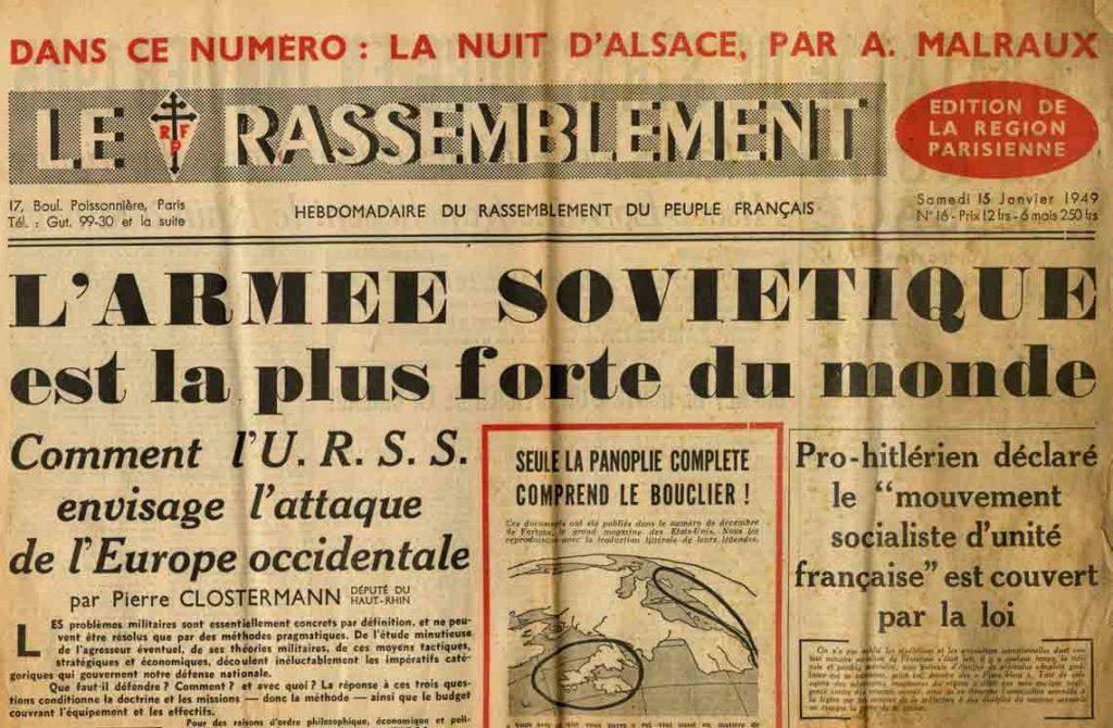 Image of A/1949.01.15 — André Malraux: «La nuit d'Alsace», «Le Rassemblement», n° 16, 15 janvier 1949,  p. 2.