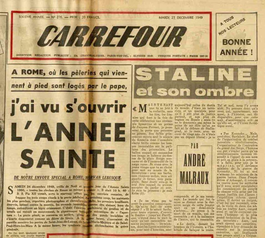 Image of A/1949.12.27 — André Malraux: «Staline et son ombre», «Carrefour», n° 276, 27 décembre 1949,  p. 1 et 3.