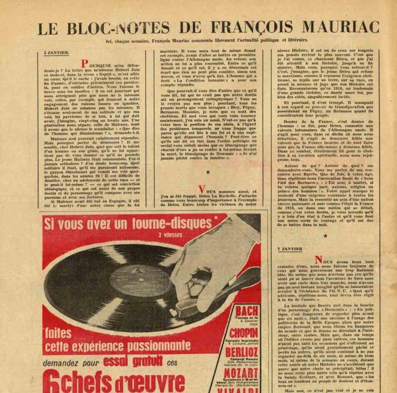 Image of François Mauriac: «Le bloc-notes de François Mauriac – Ici, chaque semaine, François Mauriac commente librement l'actualité politique et littéraire», «L'Express», n° 290, 11 janvier 1957, p. 32.