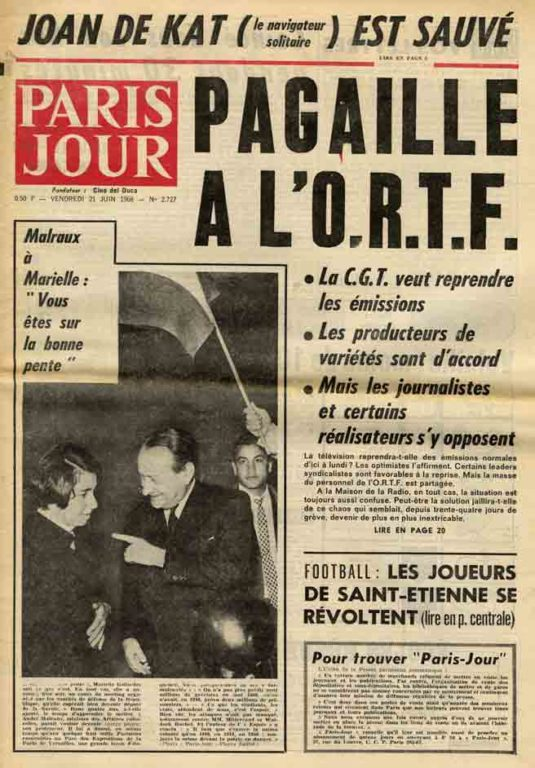 """Image of «Malraux à Marielle: """"Vous êtes sur la bonne pente""""», «Paris Jour», n° 2727, 21 juin 1968, p. 1."""