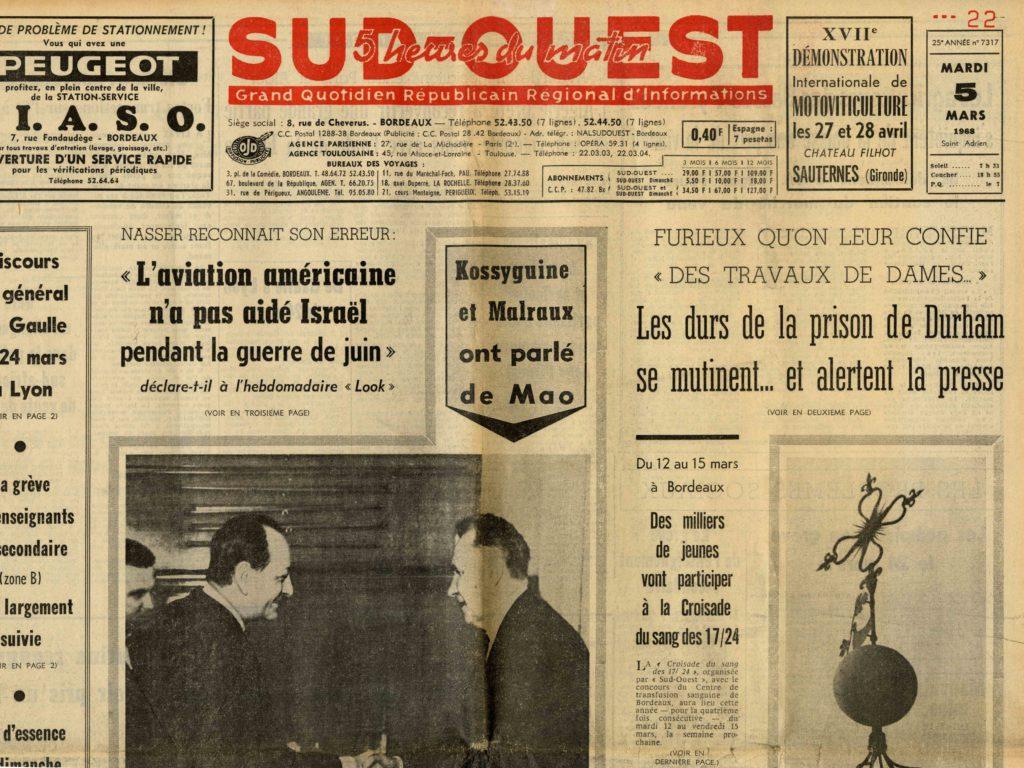 Image of «Kossyguine et Malraux ont parlé de Mao», «Sud-Ouest», n° 7317, 5 mars 1968, p. 1.