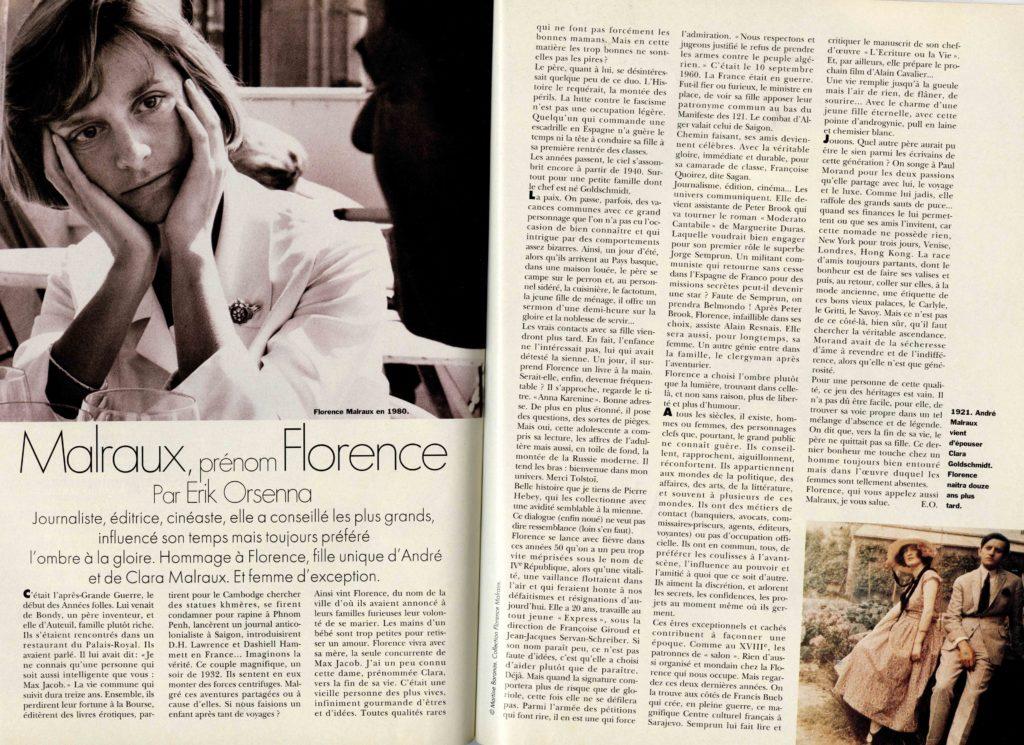 Image of Erik Orsenna: «Malraux, prénom Florence», «Elle», n° 2655, 18 novembre 1996, p. 112-113.