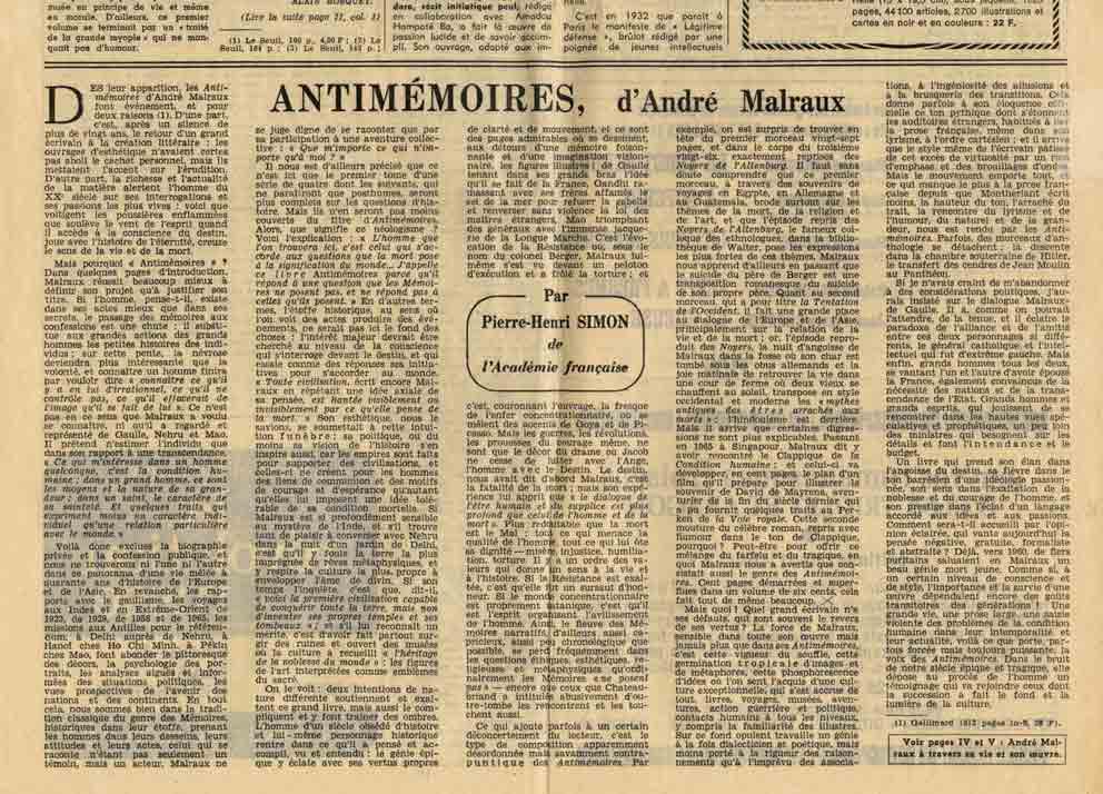 """Image of Pierre-Henri Simon: «""""Antimémoires"""", d'André Malraux», «Le Monde», n° 7062 («Le Monde des livres»),  27 septembre 1967, p. 1."""