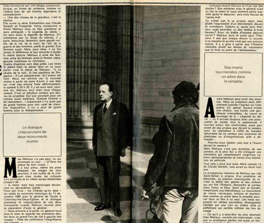Image of Jean Marvier: «Malraux raconte pour la T.V. en 35 kilomètres de pellicule et huit épisodes la légende de sa vie», «Paris Match», n° 1194, 25 mars 1972, p. 32-33.
