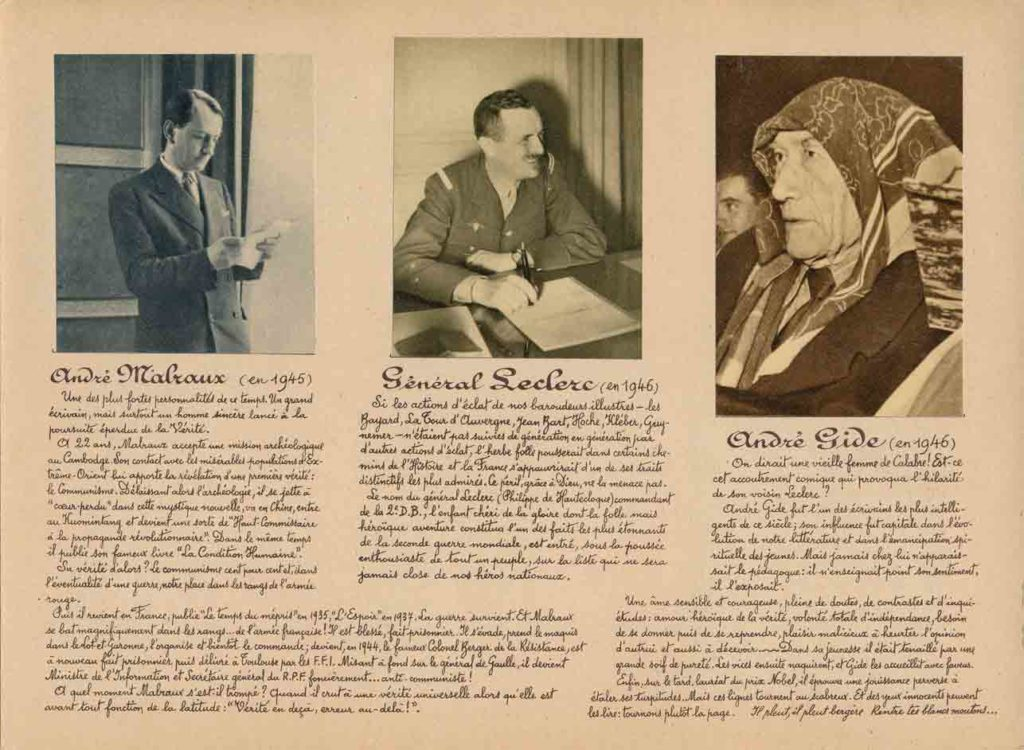 Image of Fiche de 1947 : Prince Louis de Broglie, le général de Lattre de Tassigny, François Mauriac, André Malraux, Général Leclerc, André Gide